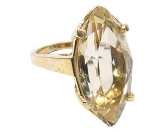 20. Womens 14K Yellow Gold Ring wLarge Yellow Citrine