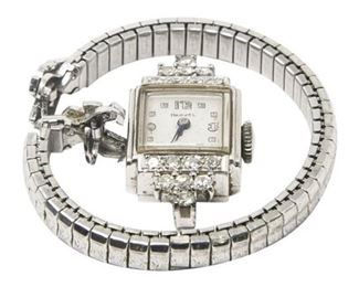 26. Vintage Womens 14K White Gold Cocktail Watch wDiamonds