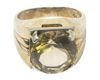 29. Mens 10K Gold Ring wLarge Yellow Center Stone