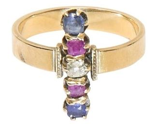 32. Antique Womens 18K Ring with Colored Stones
