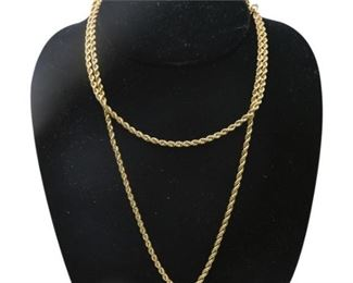 39. Rope Design 14K Yellow Gold Necklace