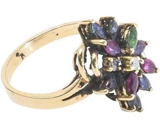 41. Womens 18K Ring wColored Stones