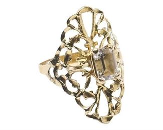 45. Womens 14K Yellow Gold Filigree Ring wCenter Stone