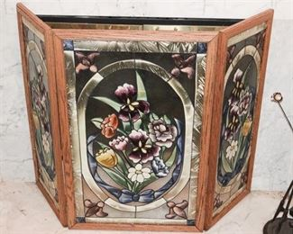 87. Three 3 Panel Fireplace Screen in Stained Glass