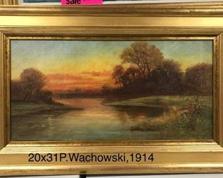P Wachowski, Sunset, oil on canvas, c.1914