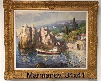 Piotr Marmanov, Crimean Harbor Scene, c. 1990, oil on canvas