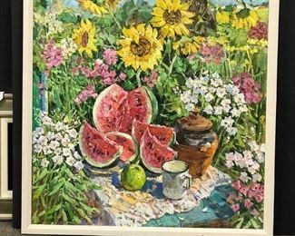 "Michael Kokin, ""Summer Pic-nic Still Life"" c. 1985, oil on canvas"