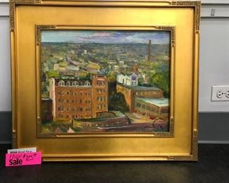 "J. Puchinskiy, ""Chicago From the Top"" (Lakewood Neighborhood), oil on canvas, c. 2001. 24 x 28 in. as framed"