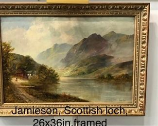 Jamieson, Scottish Loch oil on canvas circa 1925, 26 x 36 in. as framed