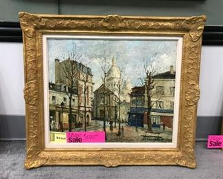 "Saudermont, ""Montmartre view of Sacre Coeur"", oil on canvas dated 1948, 26 x 31in. as framed"