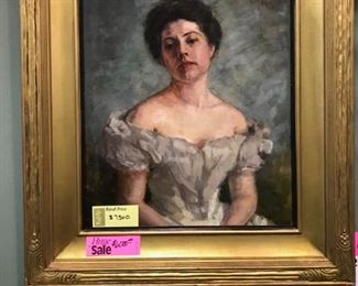 Portrait of Barbara Blackman O'Neil, mother of actress Barbara O'Neil, c. 1901 by St.Louis artist Carrie Horton Blackman, oil on canvas, 34 x 30 in.