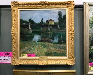 "Sam Ostrowsky, An early work c. 1916, ""The New Bridge at Argenteuil"", overall dimensions 39 x 39 in. with frame."
