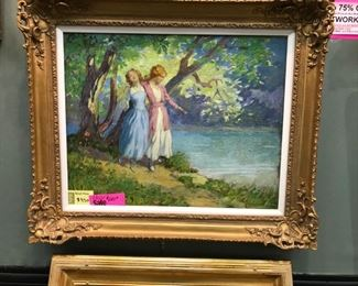 "George Varian, ""Two Sisters"", oil on canvas, c. 1919, 32 x 38 in. framed."