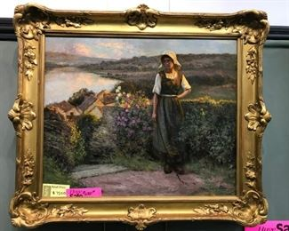 "Jean Beauduin, ""Evening"", oil on canvas, c. 1910 , 32 x 36 in. framed."