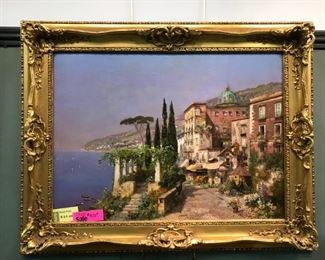 "A. Arnegger, ""Amalfi"", oil on canvas c. 1914, one of the artists' finest paintings. 41 x 51 in. framed"