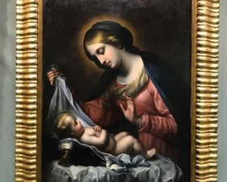 After Carlo Dolci, Madonna & Child, c. 1830-1860, oil on canvas, 50 x 40 in, framed
