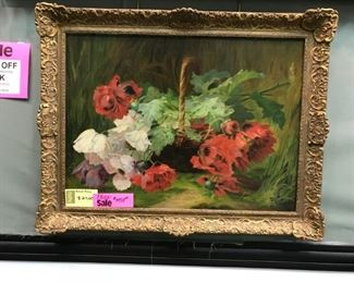 English School, Basket of Wild Poppies, oil on canvas c. 1895, 27 x 37 in. as framed