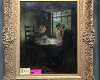 "C. Zwaan, ""Reading Time"", oil on canvas, c. 1910, 38 x 34 in. as framed"