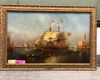 "E. Gallard-LePinay, ""Venice Harbor"" c. 1870, oil on canvas 34 x 48 in. as framed"