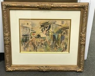 Jerusalem Suk, Old City, c. 1967, one of two watercolors by Israeli artist