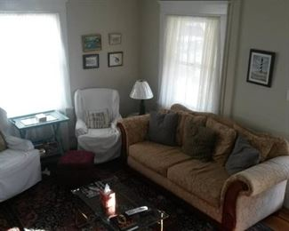 Sofa, chairs, lamps, side tables, oriental rug, pictures - all for sale!