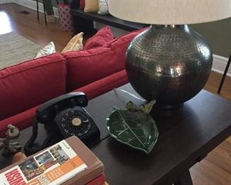 Modern lamp, vintage black telephone and other miscellaneous items.