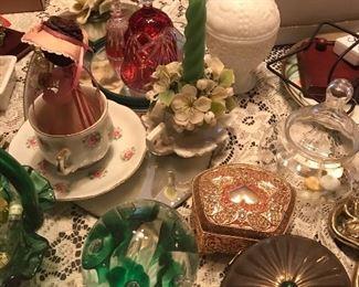 Glassware, China tea cups, vintage