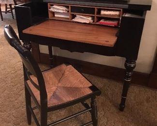 Antique desk w Hitchcock Chair