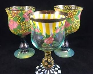 Mackenzie Childs Water Goblets  3 Yellows