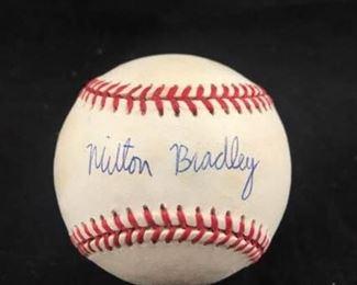 Milton Bradley Autographed Baseball