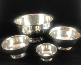 Set of Four Sterling Silver Bowls