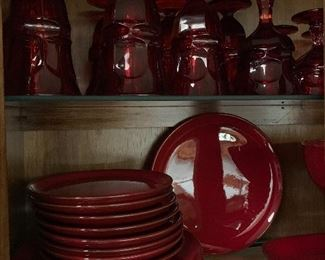 Large Collection of Ruby Red Viking Glasses