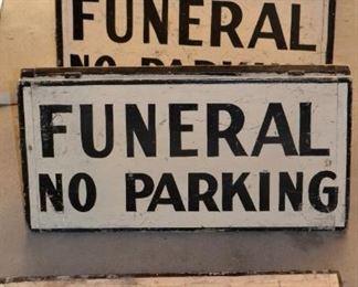 Vintage Funeral Parking Signs