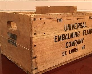 Vintage Universal Embalming Fluid Wood Crate