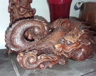Hand Carved Wooden Dragon W/ Inlaid Eyes