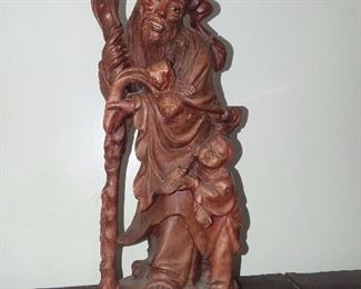 Hand Carved Asian Man Statue W/ Inlaid Eyes