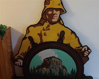 Vintage Wooden Pilot Life Insurance Sign