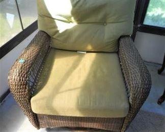 """Wicker Glider Swivel Chair """"Martha Living"""" https://ctbids.com/#!/description/share/166466"""