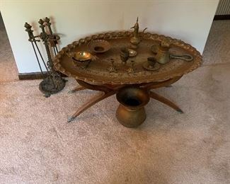 Turkish brass oval table