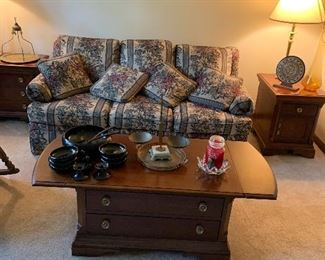 Coffee table, couch, 2 end tables