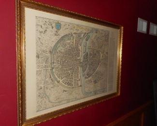 vintage print, map of city of Paris