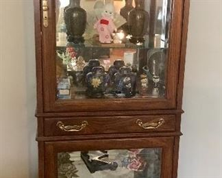 Jasper display cabinet with light and storage drawer
