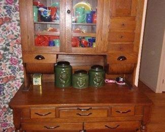 """Antique Oak Kitchen Cabinet with """"possum belly"""""""