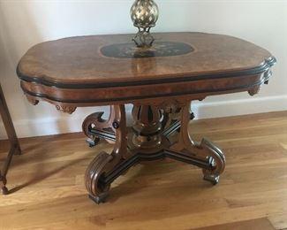19th Century Victorian Inlay Ebonized Table