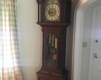 Late 19th Century Mohogany Tall Case Clock, Simon Bros. of Philadelphia