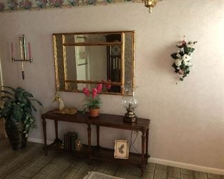 Foyer table, mirror