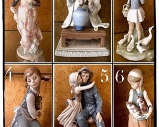 Lladro  1- Valencian Girl #1304 2- Geisha Flower Arranger #4840  3- Girl with Umbrella and Geese #4510 4- Naughty Dog #4982 5- Man Woman with Lantern #8887 6- Following her Cats #1309