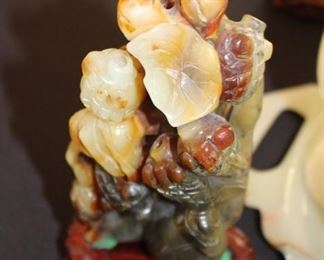 Jade (Serpentine) with Heitian Jade on a stand