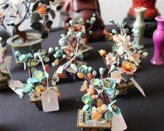 Turquoise, Amber and Quartz Bonsai Trees