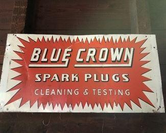Blue Crown Spark Plug Metal Sign
